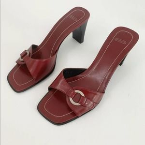 Coach Red Square Open Toe Slide Sandals 7.5